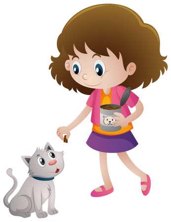 catfood: Little girl feeding pet cat illustration