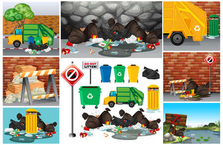 Scenes with dirty trash on the road illustration Иллюстрация