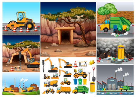industrail: Excavator tractors working in different sites illustration Illustration