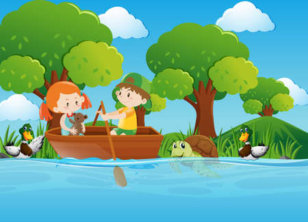 tropical: Boy and girl rowing boat in river illustration