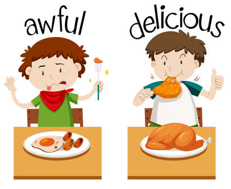 Opposite words for awful and delicious illustration Illustration