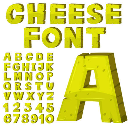 Font design for english alphabets in yellow illustration
