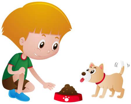 애완 동물 강아지 일러스트를 먹는 어린 소년 일러스트