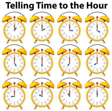 Telling time to the hour on yellow clock illustration Ilustrace