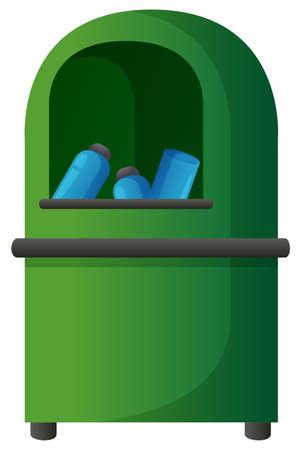 dirty: Plastic bottles in green trashcan illustration Illustration