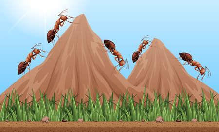 Molte formiche si arrampicano sull'illustrazione delle montagne