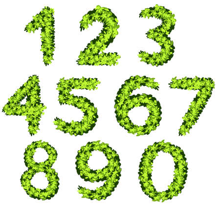 Font design for numbers with grass texture illustration
