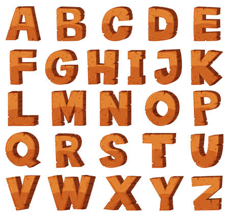 english letters: Font design for english alphabets with rock texture illustration