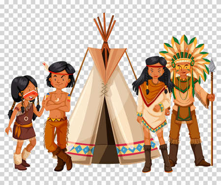 Native American family and teepee illustration