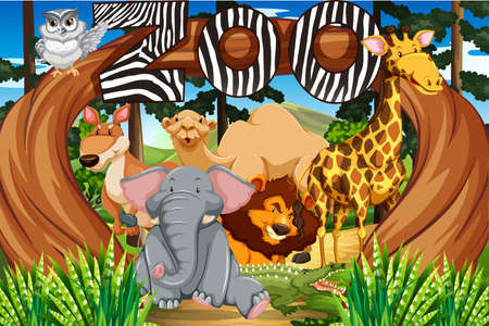 tropical: Wild animals at the zoo entrance illustration Illustration