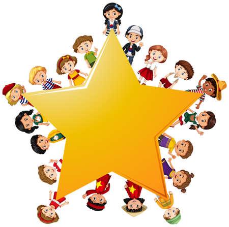 Happy children around yellow star illustration