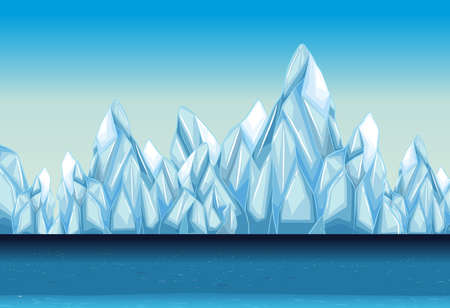 Background with glacier and ocean illustration Illustration