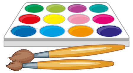 two: Watercolor palette and two paintbrushes illustration Illustration