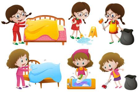 Girls doing different chores illustration