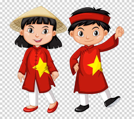 Boy and girl from Vietnam illustration Ilustracja