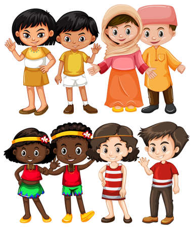 wave: Happy children from different countries illustration