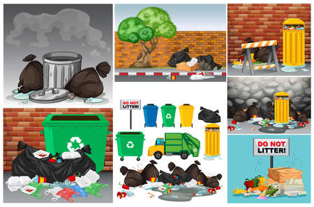 Road scenes with trash and trashcans illustration