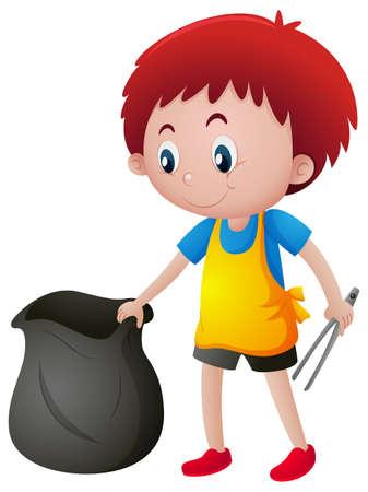 Little boy picking up trash illustration