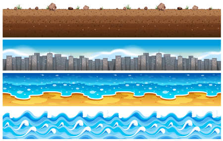 water wave: Seamless background with water and city scene illustration