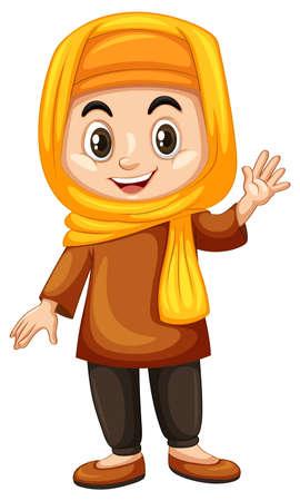 Turkish girl waving hand illustration