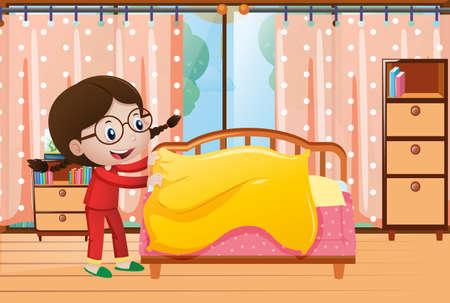 寝室の図にベッドを作る少女