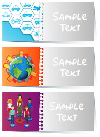 board: Card templates with infographic designs illustration