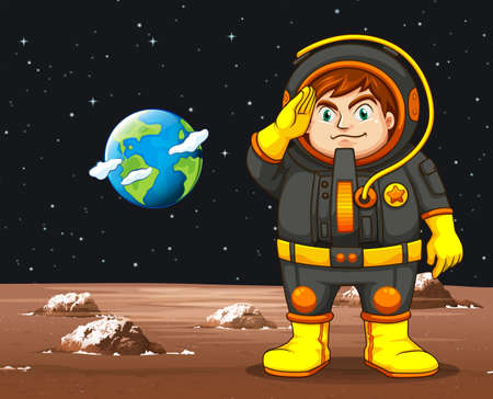 work: Astronaut in black spacesuit standing on planet illustration