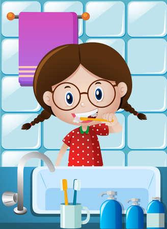 Little girl brushing teeth in bathroom illustration Çizim