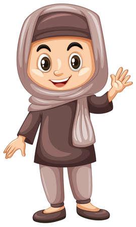 girl: Turkish kid waving hand illustration