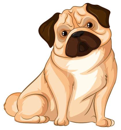 Little pug dog on white background illustration Illustration