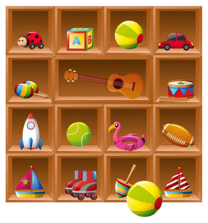 ladybird: Many toys on wooden shelves illustration Illustration