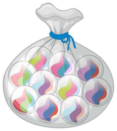 Bag of colorful marbles illustration Illustration