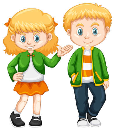 drawings image: Cute girl and boy standing illustration