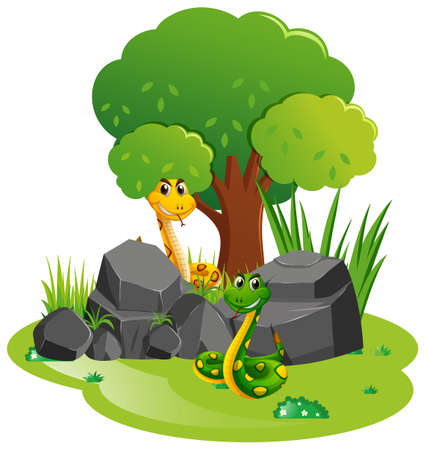 two: Two snakes in the garden illustration