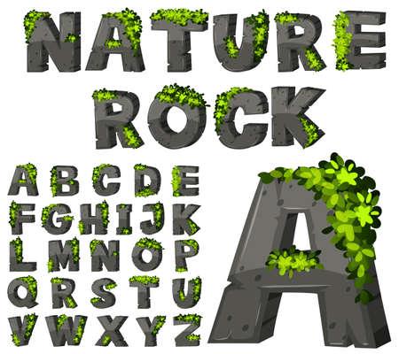 Font design with rock texture illustration