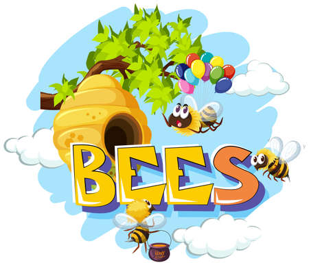 Bees  flying around beehive illustration Illustration