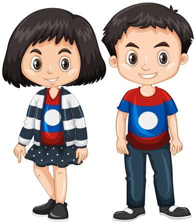 소년과 소녀 입고 셔츠와 라오스 플래그 그림 일러스트