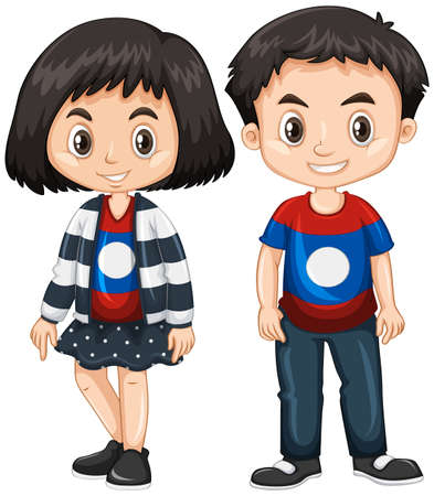 Boy and girl wearing shirt with Laos flag  illustration 向量圖像