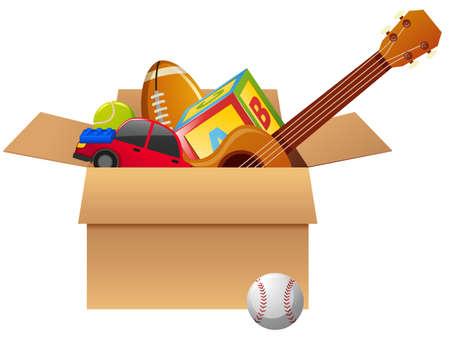 Cardboard box full of toys illustration Illustration