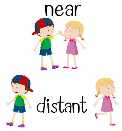 Opposite words for near and distant illustration