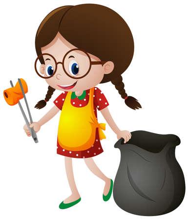 Bambina raccogliendo illustrazione di rifiuti