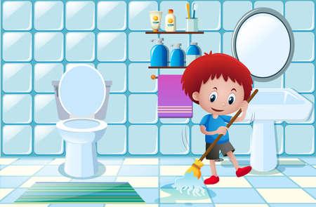 少年はバスルームの図にぬれた床をクリーニング