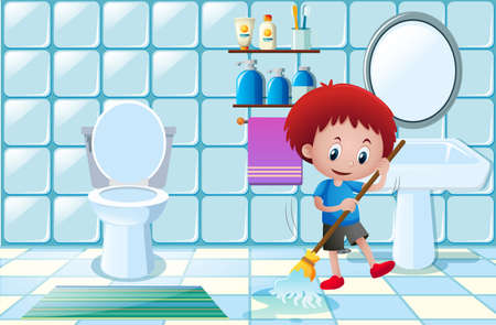 Boy cleaning wet floor in bathroom illustration