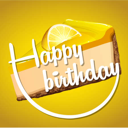 cheesecake: Happy birthday card template with lemon cheesecake illustration