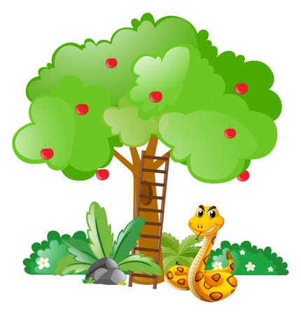 Snake under apple tree illustration Illustration