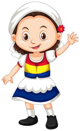 Romania girl waving hand hello illustration