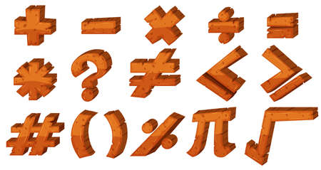 multiplication: Font design for different math signs illustration