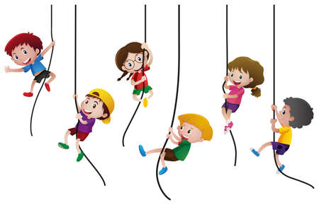 Many kids climbing up the rope illustration Иллюстрация
