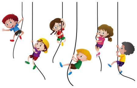 Many kids climbing up the rope illustration Illustration