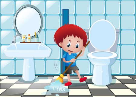 Little Boy Mopping The Bathroom Floor Illustration Royalty Free ...